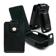 View Item BLACK Leather Case Cover for Creative Zen &amp; Zen MX 4gb 8gb 16gb &amp; 32gb with Belt Clip